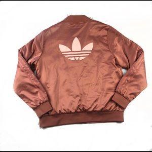 Adidas Rose Gold Satin Bomber Jacket